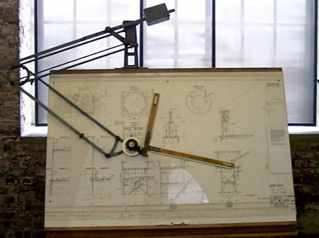 Practice Matters. Historic drafting board with double parallelogram linkages and balancing mass