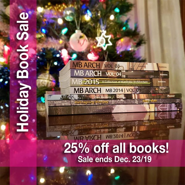 A stack of Storefront Manitoba books in front of a Christmast Tree. Holiday Books sale 25% off all books! Sale ends December 23, 2019.